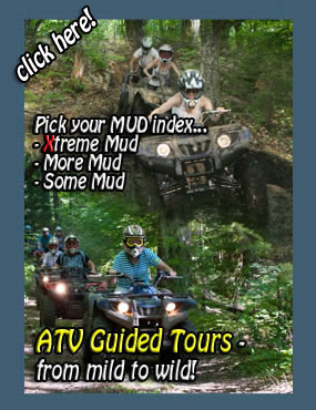 atv guided tours from your accommodation in muskoka, resort, hotel, motel or muskoka cottage