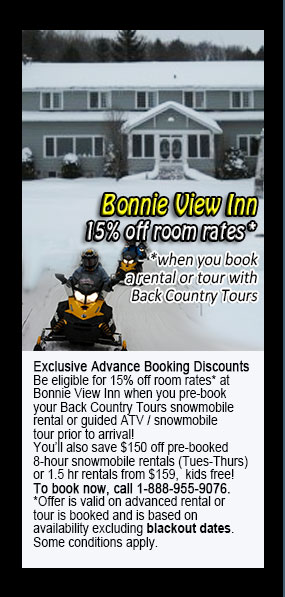Back Country Tours Snowmobiling at Bonnie View Inn Haliburton