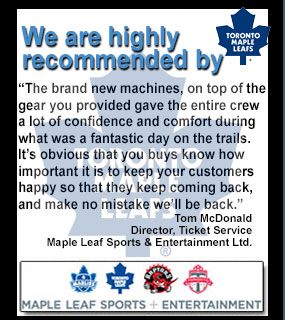 recommended by the toronto maple leafs snowmobile, atv, jet ski rentals